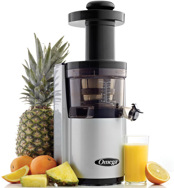 Omega vERT vSJ843 Round vertical vSJ843 silver juicer- Latest vertical Slow Juicer from Omega.